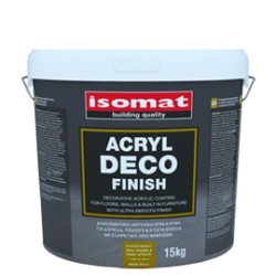 Isomat ACRYL Deco Finish alb 15Kg acoperire acrilica decorativa pentru pardoseli si pereti, cu finisaj ultra-neted
