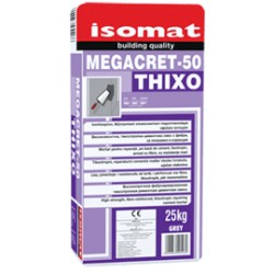 Isomat MEGACRET-50 Thixo gri 25Kg mortar pe bază de ciment pentru reparatii, tixotropic, armat cu fibre, cu rezistente mari